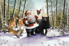Santa In The Forest (Tapestry Throw) Christmas Fairy, Santa Christmas, Christmas Morning, Christmas Animals, Celebrating Christmas, Magical Christmas, Christmas Decor, Canvas Art, Canvas Prints