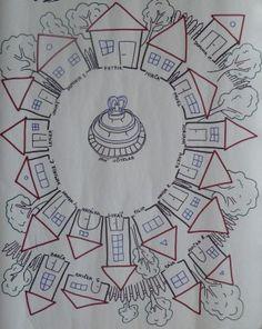"""Městečko Zapomněnkov: Když někdo zapomene donést domácí úkol, udělá si čárku do střechy svého domečku. Když zapomene nějaké pomůcky (penál, kartičky i/y...), vyznačí si čárku pod střechu. Při pěti čárkách si Zapomínač hází """"kostkou hříšníků"""". (4.A, Veronika Prouzová) School Classroom, Classroom Decor, Classroom Management, Montessori, Art For Kids, Craft Projects, Teaching, Education, Crafts"""