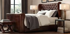 ~ Living a Beautiful Life ~ Churchill Leather Wing Bed | Restoration Hardware