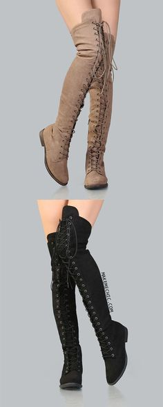 look Tackle your fashion dilemmas with the Thigh High Suede Combat Boots! Features a faux suede upper, lace up design, and a side zipper for easy put on and removal. Finished with a flat heel. Wear with a grunge inspired ensemble for a cool look. Cute Shoes, Me Too Shoes, Black High Heels, Crazy Shoes, Thigh High Boots, Thigh Highs, What To Wear, Combat Boots, Fashion Shoes