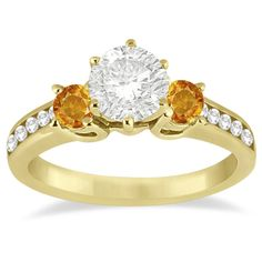 Allurez Three-Stone Citrine & Diamond Engagement Ring 14k Yellow Gold... ($905) ❤ liked on Polyvore featuring jewelry, rings, yellow, round engagement rings, diamond band ring, yellow gold diamond rings, 14k gold ring and yellow gold rings