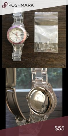 ToyWatch Pink and clear ToyWatch brand watch.  In great condition with new battery and extra links for sizing. Accessories Watches