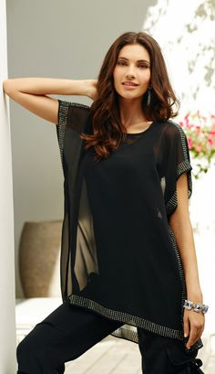 Sheer sensation: Studded trim takes the sheer tunic to a new level of luxe.