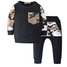 ea810a56b2f Newborn Camouflage Baby Boys Clothes Cotton Long Sleeve T-shirt+Pants Infant  2Pcs Babydresskily