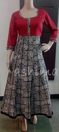 - Flared Block Printed on cotton Kurtha Price Pakistani Dresses, Indian Dresses, Indian Outfits, Kurta Patterns, Dress Patterns, Churidar Designs, Batik Fashion, Batik Dress, Indian Designer Wear