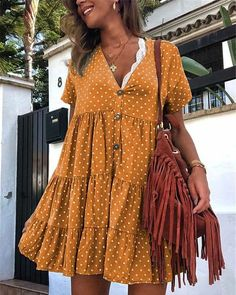 casual outfit Retro Polka Dot Printed V Collar Wrinkle Loose Dress Casual Outfits For Work, Spring Dresses Casual, Casual Dresses For Women, Clothes For Women, Dress Casual, Work Clothes, Summer Dress Outfits, Dress Summer, Casual Fall