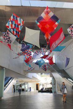 Kite Installation Andares Guadalajara Kite Decoration, Middle School Art Projects, Street Installation, Ecole Art, Exhibition Display, Collaborative Art, Land Art, Art Festival, Hanging Art