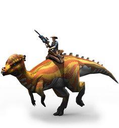 Play for free at DinoStorm.com -- Dino Storm --  Key Character 2 --- Cowboys, Dinosaurs, and laser guns!