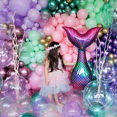 Mermaid Theme Birthday, Little Mermaid Birthday, Baby Girl Birthday, Birthday Party Themes, Themed Parties, 2nd Birthday, Birthday Ideas, Pastel Balloons, Clear Balloons