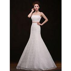 Trumpet/Mermaid Strapless Floor-length Wedding Dress - USD $ 99.99