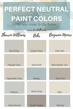 Neutral paint colors are a fool-proof way to add color and dimension to a room without over powering the space. Neutrals will never go out of style, paint colors
