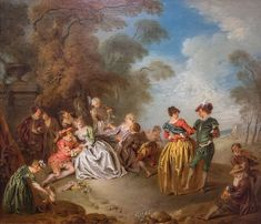 Rest in the Park. French Rococo, Jean Baptiste, Park, Painting, Rest, Triptych, Oil On Canvas, Fine Art Paintings, Painting Art