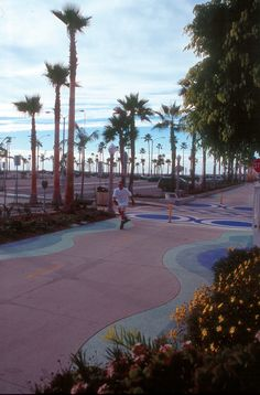 Bike (and multi-purpose trails) can use colorful & creative paving to create safe recreation experiences, like this one in Newport Beach, CA along the Pacific Ocean