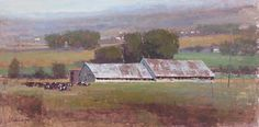 """DairyBarns_11 by Colleen K Howe Oil ~ 12"""" x 24"""""""