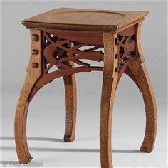 Stool, 1898, by Paul Hankar. Oak and mahogany. Art Nouveau.