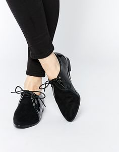 Daisy Street Pointed Toe Lace Up Flat Shoes $38.95