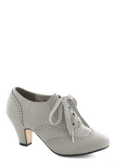 Dance Instead of Walking Heel in Grey - Grey, Solid, Vintage Inspired, 20s, 30s, Mid, Lace Up, Faux Leather, Good, Party, Work, Variation, E...