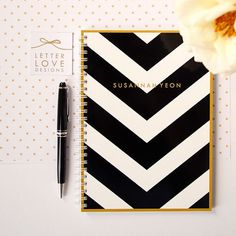 Personalized Notebook - V Stripe - Choose your own Monogram