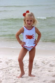 Seersucker Crab Swimsuit from Smocked Auctions