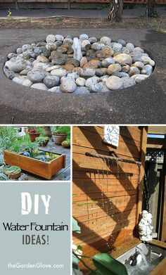 DIY Garden Water Fountain Ideas & Tutorials - love the rock fountain for butterflies Diy Garden, Lawn And Garden, Garden Art, Garden Design, Garden Ideas, Garden Gates, Diy Water Fountain, Garden Water Fountains, Fountain Ideas