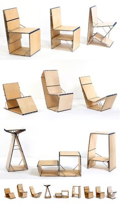 The Loop Chair Takes any shape or size: The Loop Chair is a multipurpose design that will meet your sitting needs. The Loop Chair is made of seven boards of different sizes and uses hinges to connect them all to each other. This particular design. Multipurpose Furniture, Multifunctional Furniture, Smart Furniture, Modular Furniture, Space Saving Furniture, Classic Furniture, Unique Furniture, Furniture Plans, Furniture Design