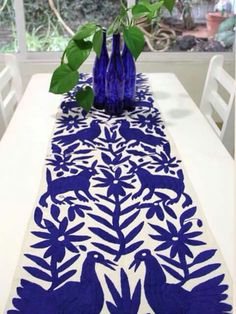 Cobalt Blue Hand Embroidered Otomi Table runner from Mexican Home Decor, Mexican Folk Art, Mexican Style, Mantel Azul, Mexican Textiles, Mexican Embroidery, Boho Home, Mexican Designs, Decoration