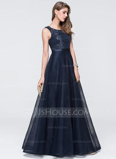 Ball-Gown Scoop Neck Floor-Length Lace Beading Sequins Zipper Up Regular Straps Sleeveless No Dark Navy Spring Summer Fall General Plus Tulle Height:5.8ft Bust:33in Waist:23in Hips:35in US 2 / UK 6 / EU 32 Prom Dress