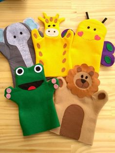Kit Fantoches de feltro - Animais no Elo7 | Atelie Erica Silverio (CE3FC3) Felt Puppets, Felt Finger Puppets, Kids Indoor Gym, Nail Salon And Spa, Kids Crafts, Origami Easy, Sewing Toys, Felt Toys, Diy For Kids