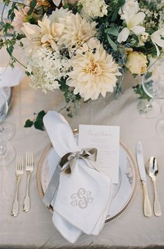 Monogramed napkins.  Photo: Jose Villa, Event Design & Planning: Easton Events