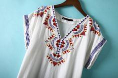 Buy White V Neck Short Sleeve Embroidered Dress from abaday.com, FREE shipping Worldwide - Fashion Clothing, Latest Street Fashion At Abaday.com