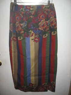 State of the Art Juniors Striped Floral Print Wraparound Wrap Modest Skirt 13