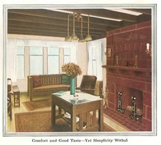 "Living Room from ""The Inviting Home"" 1918. Richly colored woodwork."