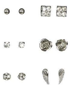 Six Rhinestone Earring Set - Jewelry