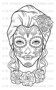 Digital Stamp Day of the Dead Calavera Girl by SLSLines on Etsy, $3.00