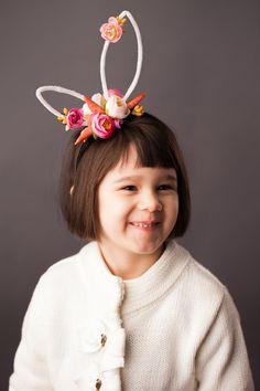 Items similar to Custom Garden Flower White Rabbit Bunny Ears. on Etsy Newborn Girl Headbands, Ear Headbands, Diy Hair Accessories Ribbon, Easter Hat Parade, Bunny Ears Headband, Rabbit Ears, Sewing Projects For Kids, Fascinator Hats, Crochet Bunny