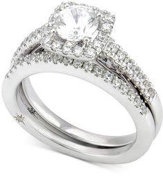 Marchesa Certified Diamond Bridal Set (1-1/4 ct. t.w.) in 18k White Gold Created for Macy's #bride #wedding #jewelry #bridaljewelryideas