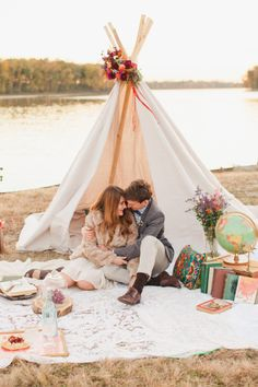 Bohemian Fall Styled Wedding Photo Shoot + Handcrafted Teepee!