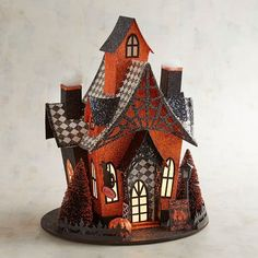 """Pier 1 Imports LED Light-Up Cat Cafe cute little Halloween house! Love the """"smoke"""" coming out of the chimney! Fairy Halloween Costumes, Halloween Village, Halloween Haunted Houses, Halloween House, Spooky Halloween, Halloween Themes, Halloween Crafts, Halloween Decorations, Halloween Quilts"""