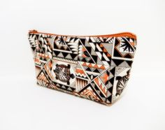 Zipper Pouch, Fabric Pouch, Medium Pouch, Cosmetic Bag, Coin Purse, Toiletry Bag, Bag, Clutch, Turtles and Geometrics in Terra Cotta - pinned by pin4etsy.com