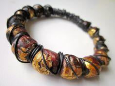 Begging Bowl - primitive gold foil leaf maroon Tibertan mala prayer beads and black oxidized copper wire wrapped chunky bangle bracelet