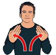 Day - Both hands open with palms facing signer. Hands start crossed then move upwards in an arc. British Sign Language (BSL)
