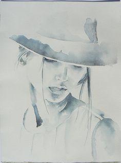 Woman in hat, fashion illustration, original painting, watercolor painting, original painting, sepia color 9,5'' x 13,5''