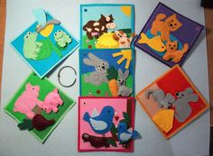 7pcs1 set Felt Tactile cards Animals Quiet Book