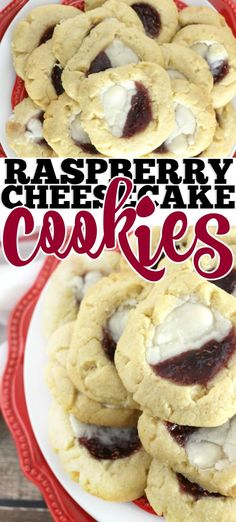 RASPBERRY CHEESECAKE COOKIES RECIPE - Raspberry cheesecake cookies are easy to make but taste so decadent. The perfect way to impress a new friend or your mother-in-law. Fudge Recipes, Vegan Recipes Easy, Cookie Recipes, Dessert Recipes, Cookie Ideas, Amazing Recipes, Bread Recipes, Dinner Recipes, Raspberry Cheesecake Cookies