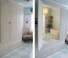 These nooks were my inspiration for my bed nook. nothing but sweet dreams here ok. Alcove Bed, Bed Nook, Cozy Nook, Small Space Living, Small Spaces, Tiny Apartments, Studio Apartments, How To Make Bed, Dream Bedroom