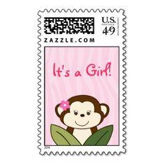 Safari Girl Monkey Personalized Postage Stamps