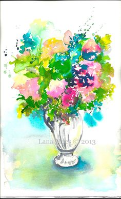 Wild Flowers in Vase Watercolor Painting - 10 x 14 Still Life Illustration by Lana