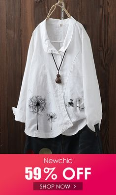 Flowers Print Irregular Button Lapel Plus Size Shirt can cover your body well, make you more sexy, Newchic offer cheap plus size fashion tops for women. Plus Size Shirts, Plus Size Blouses, Suit Fashion, Fashion Dresses, Embroidered Clothes, Linen Blouse, Blouse Designs, Plus Size Fashion, Clothes For Women