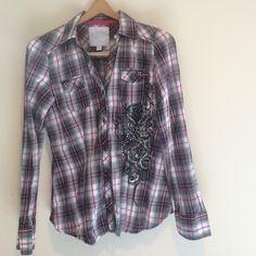Maurice's button down Western style shirt Button down shirt, western style with bling & chest pockets. Black, white, & pink. 100% cotton. Excellent condition! Maurices Tops Button Down Shirts