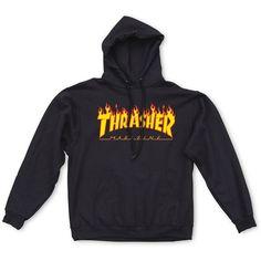 Thrasher Flame Logo Hood featuring polyvore, women's fashion, clothing, tops, hoodies, hooded hoodie, hooded sweatshirt, cotton hoodie, logo tops and cotton hoodies